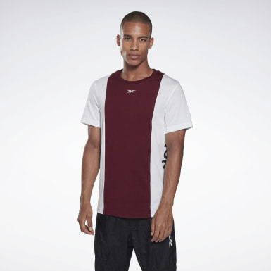 Men Fitness & Training Burgundy Training Essentials Linear Logo Tee