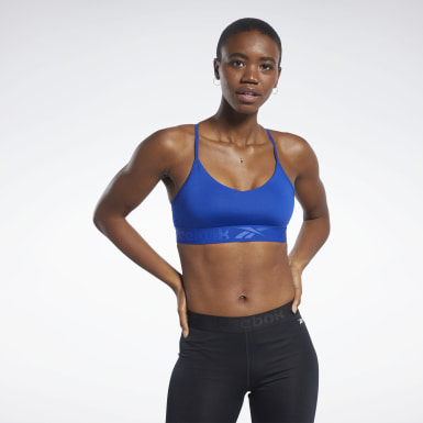 Frauen Fitness & Training Strappy Back Low-Impact Bra Blau