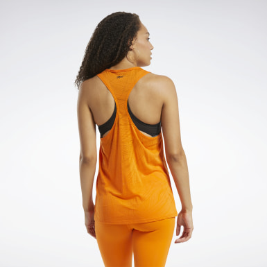 Women Yoga Orange Burnout Tank Top