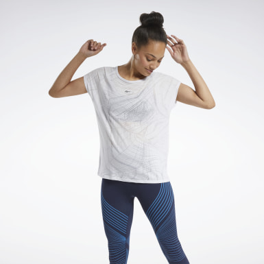 Women Yoga White Burnout T-Shirt