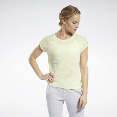 Women Fitness & Training Yellow Burnout Tee