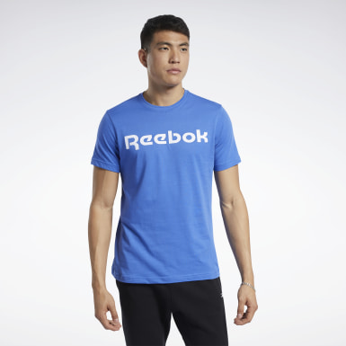 Men Fitness & Training Blue Graphic Series Linear Logo Tee