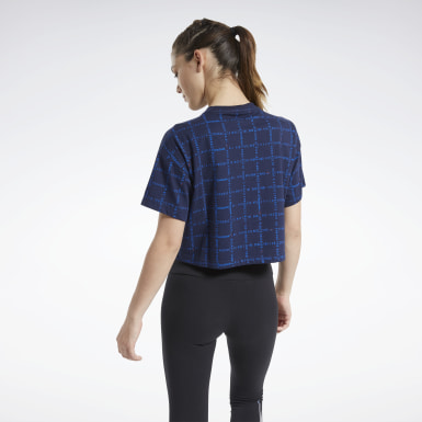 Women Classics Blue Cropped Grid Tee