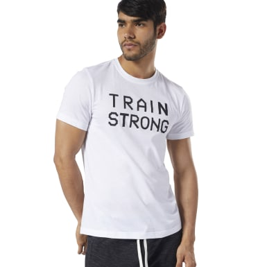 Remera Graphic Series Train Strong Blanco Hombre Fitness & Training