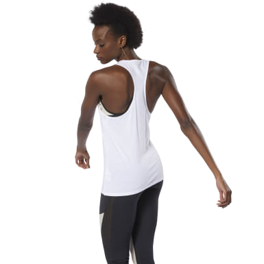 Women Fitness & Training White Racer Tank Top