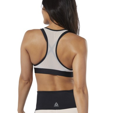 Women Yoga Pink Studio Strappy Mesh Medium-Impact Bra