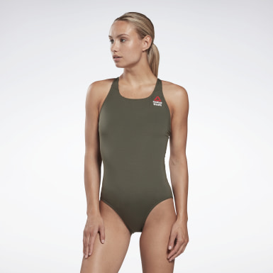 Women Training Green CrossFit® Games One-Piece Swimsuit