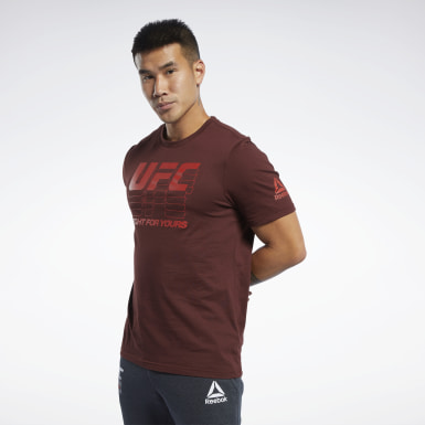 Men Fitness & Training Red UFC Fan Gear Logo T-Shirt
