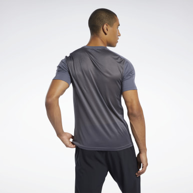Men Cross Training Grey Workout Ready Polyester Tech Tee