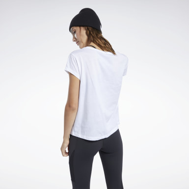 Women Training White Graphic Tee