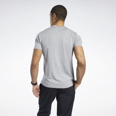 Camiseta gráfica Reebok Stacked Gris Hombre Correr