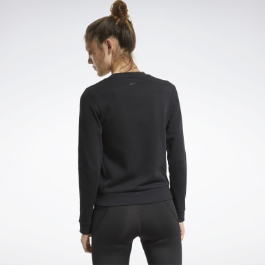 Women Cross Training Black Core Linear Crew Sweatshirt