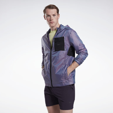 Men Trail Running Purple Night Run Jacket