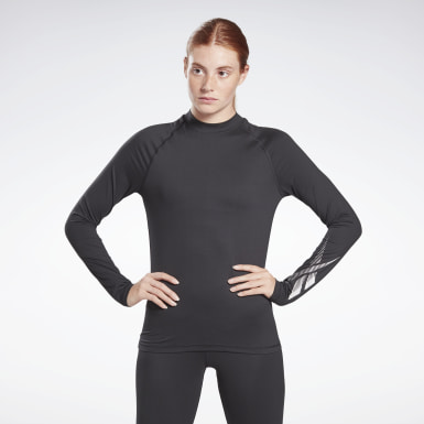 Frauen Wandern Thermowarm Touch Graphic Base Layer Top Schwarz
