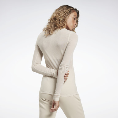 Women Studio Beige Studio Ribbed Long Sleeve Tee