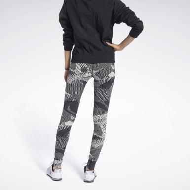 Legging Reebok Lux 2.0 - Geo Static Bege Mulher Fitness & Training