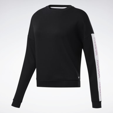 Dames Fitness & Training Zwart Linear Logo Sweatshirt met Ronde Hals