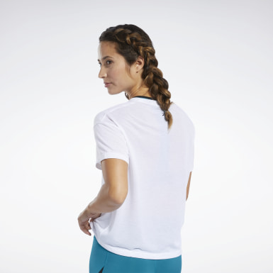 Women Pilates White Workout Ready Supremium Logo Tee