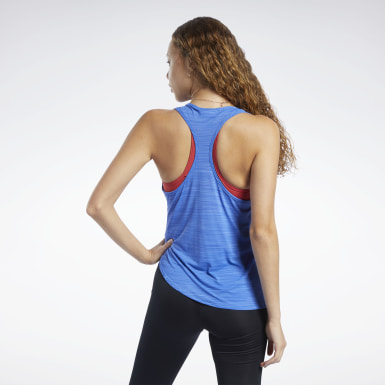 Women Fitness & Training Blue Workout Ready ACTIVCHILL Tank Top