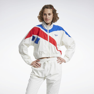 Women Classics White Classics Vector Cropped Track Jacket