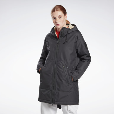 Women Outdoor Black Outerwear Urban Fleece Parka
