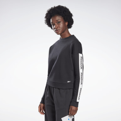 Kvinder Fitness & Training Black Linear Logo Crew Sweatshirt