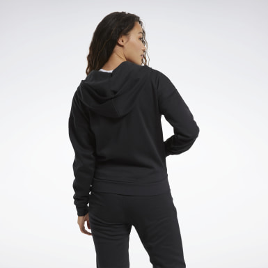 Women Outdoor Black Training Essentials Full-Zip Hoodie