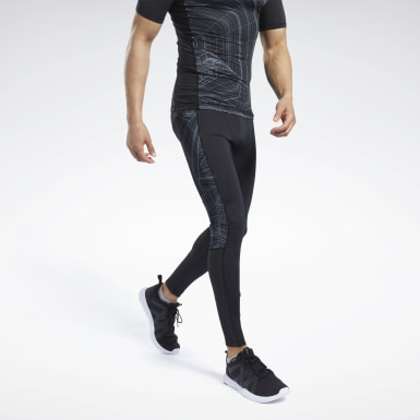 Men Terrengløping Black Compression Printed Tights
