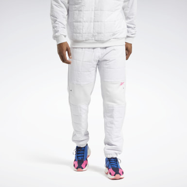 Men Outdoor White MYT Quilted Joggers