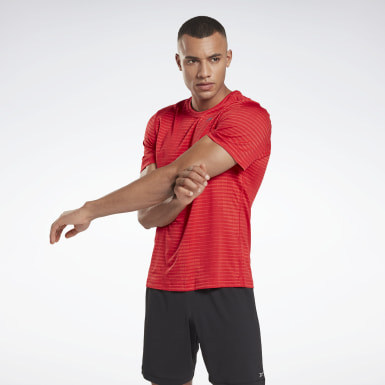 Men Running Red Run Jacquard Tee