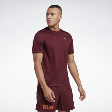 Men Trail Running Burgundy Running Essentials Shirt