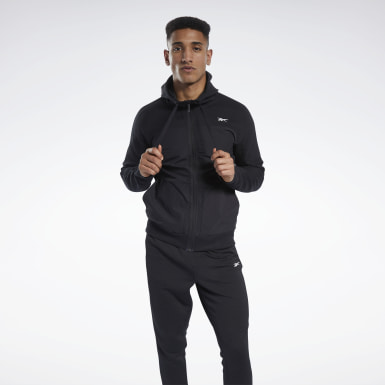 Men Outdoor Black Knit-Woven Full-Zip Hoodie