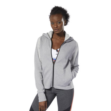 Women Training Grey Quik Cotton Hoodie