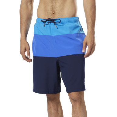 Men Swim Blue Colorblock Tab Volley Shorts
