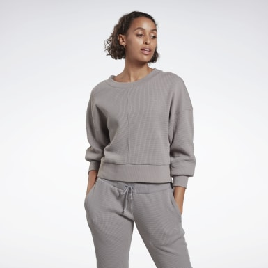 Frauen Yoga Studio Layer Sweatshirt Grau