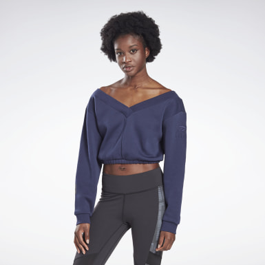 Women Studio Blue LES MILLS® Fleece Long Sleeve Sweatshirt