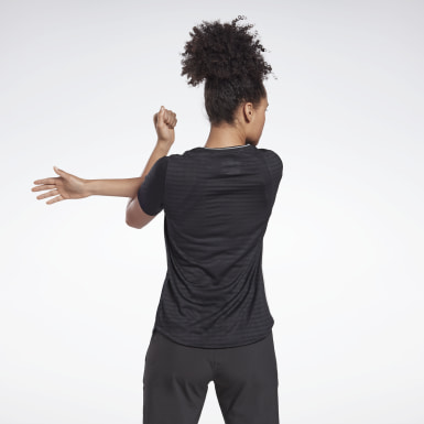 Women Running Black Run Jacquard Tee