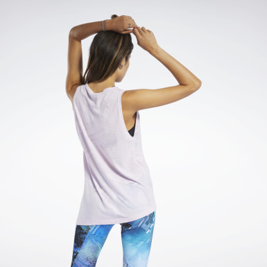Women Yoga Pink Burnout Tank Top