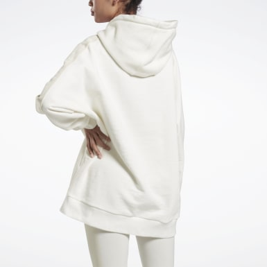 Women Training White VB Oversize Hoodie