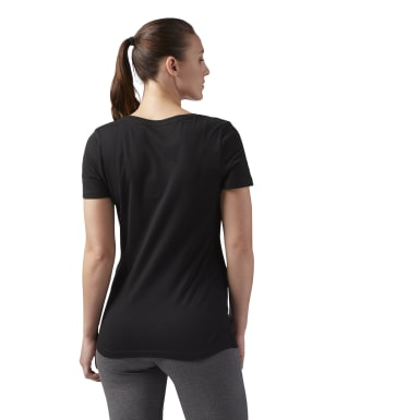 Women Fitness & Training Black Reebok Scoop Neck Tee