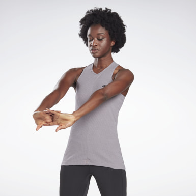 Women Studio Grey LES MILLS® Rib-Knit Tank Top
