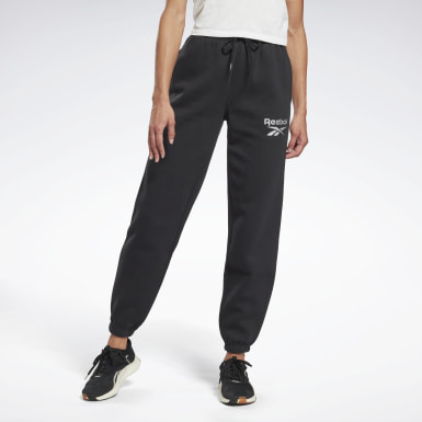 Women Fitness & Training Black Reebok Identity Logo Fleece Pants