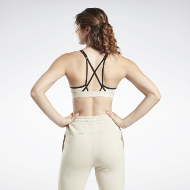 Women Yoga Beige Reebok Hero Medium-Impact Strappy Bra