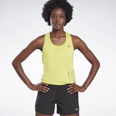 Women Studio Yellow LES MILLS® Performance Mesh Tank Top