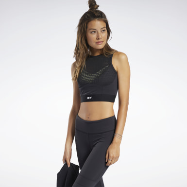 Women Cycling Black Perforated Crop Top