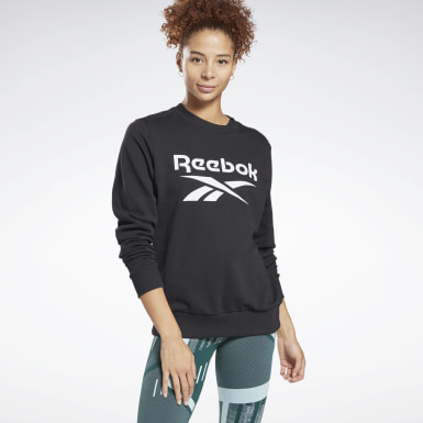 Women Fitness & Training Black Reebok Identity Logo French Terry Crew Sweatshirt