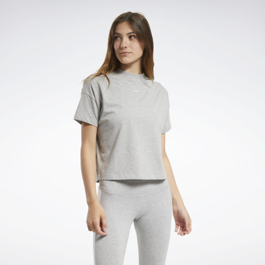 Women Cross Training Grey TE Texture Solid Tee