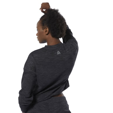 Women Fitness & Training Black Training Essentials Marble Crew Sweatshirt