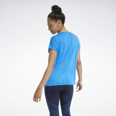 Women Yoga Blue Burnout Tee
