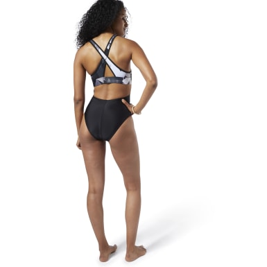 Women Training Black Bold Dynamic High-Neck Monokini